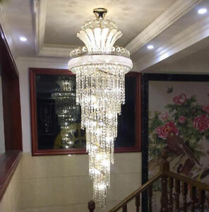 Details About K9 Crystal Chandelier Pendant Lamp Luxury Lighting Lobby Hanging Light Fixtures