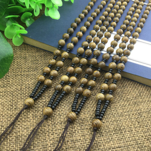DIY Hand Woven Braided Chicken Wing Wood Bead String Rope Cord Pendant Necklace3