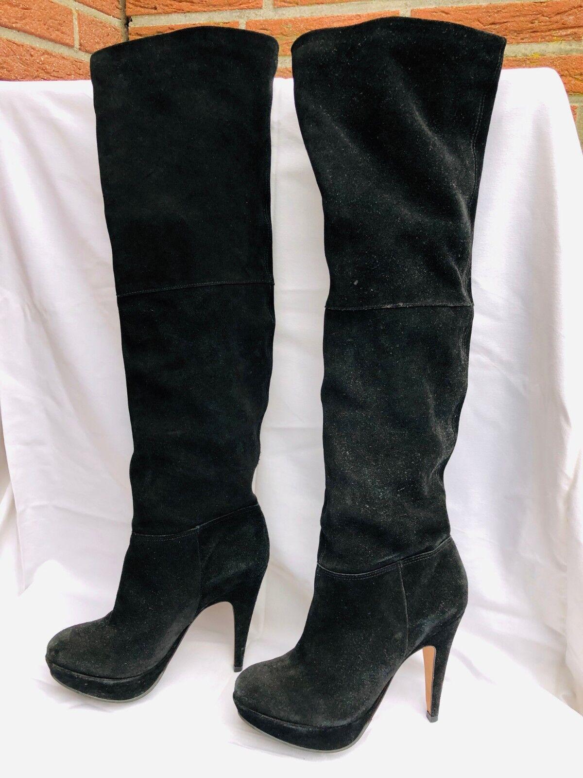 Buffalo Damen Overknees Stiefel Gr. 39   Wildleder schwarz schwarz schwarz   Plateau  Neues exklusives High-End