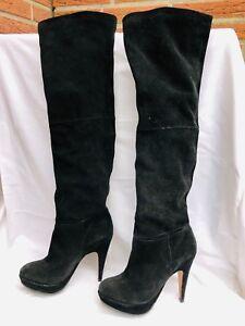 super popular 1dfdd fc580 Details zu Buffalo Damen Overknees Stiefel Gr. 39 | Wildleder schwarz |  Plateau