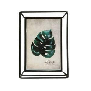 Metal-Photo-Frame-Standing-Picture-Decor-Geometric-Black-Wire-Clear-Glass-Modern