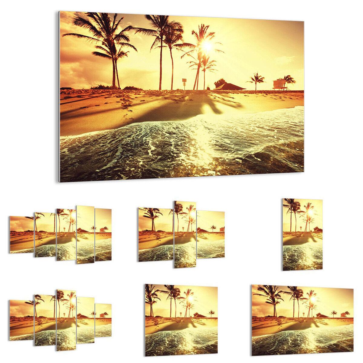 GLASBILD Wandbild Deko Strand Meer Palme 3609 DE