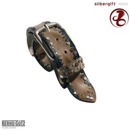 402205 BERND GÖTZ Nietengürtel 4 cm breit Jeansgürtel Vollrindledergürtel