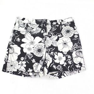 91ef71bcddaa2 Talbots Black and White Floral Shorts Stretch Cotton Flat Front 4 | eBay