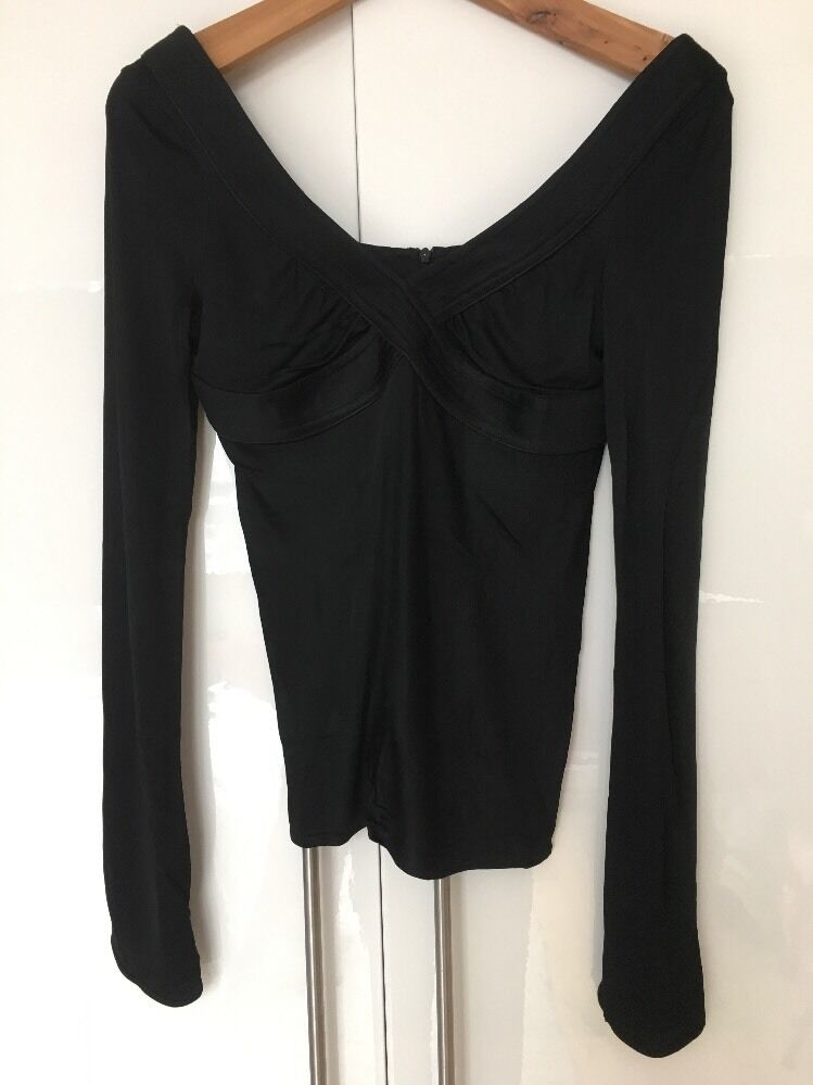COSTUME NATIONAL schwarz Silky Viscose Top Shirt Deep Plunge V Neck IT 38 S M