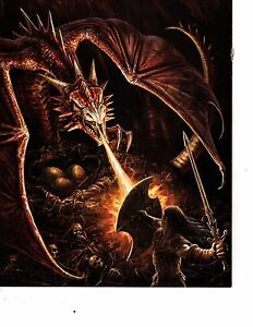 Details about fantasy poster knight fighting dragon skeletons longest side  10 inches (147