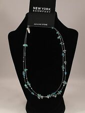 New York and Company Silver Wire Genuine Stone Turquoise Blue Bead Necklace