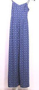 T54-18 Abercrombie & Fitch Maxi-Kleid Gr. XS Viskose blau gemustert Schlitze