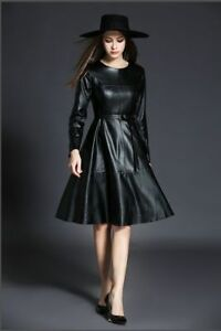 Women's Party Wear Casual Stylish Lambskin Leather Cocktail Ladies Dress-15