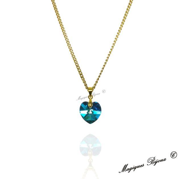 Collana Oro Dorata Ciondolo Pendente Cuore SWAROVSKI ELEMENTS BERMUDA BLUE BLU