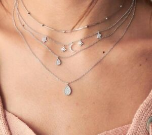 Mode-Multicouche-Or-Chaine-Collier-Tour-de-Cou-Femmes-etoile-Lune-Pendentif-Bijoux