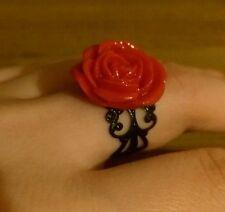 Beautiful red rose ring burlesque rockabilly retro adjustable