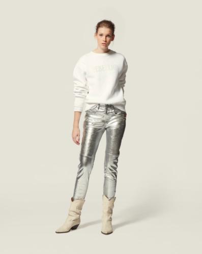 Isabel Marant Silver Metallic Jeans Pants, Size 38