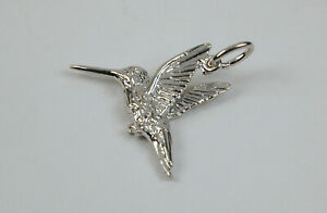 Sterling-Silver-Hummingbird-Charm-Free-U-S-Shipping-amp-Lobster-Clasp