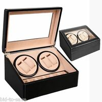 4+6 Automatic Rotation Leather Wood Watch Winder Storage Display Case Box Black