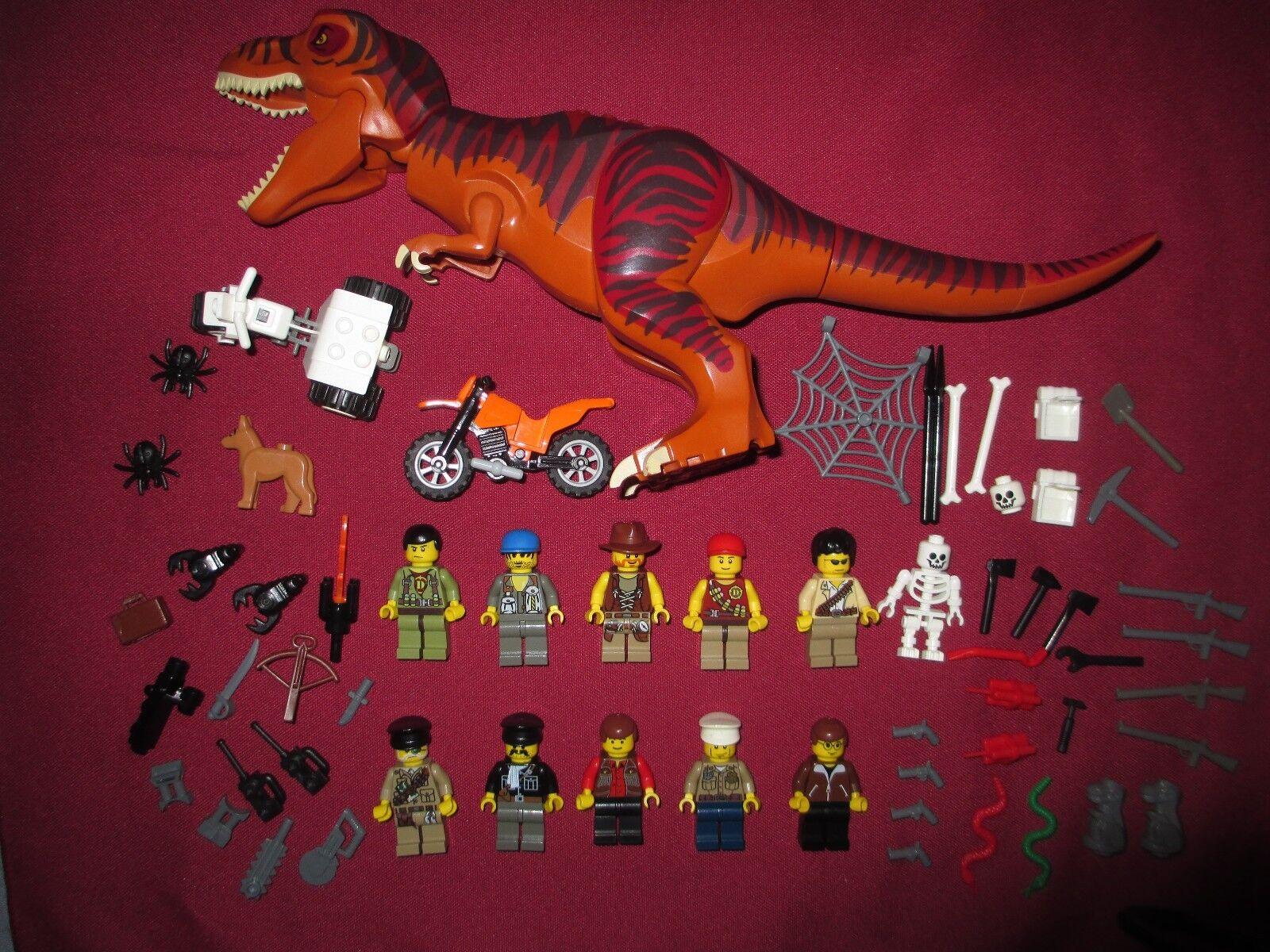 Lego Dinosaurio Dino, Minifigure lot T-Rex, Minifiguras, armas extras