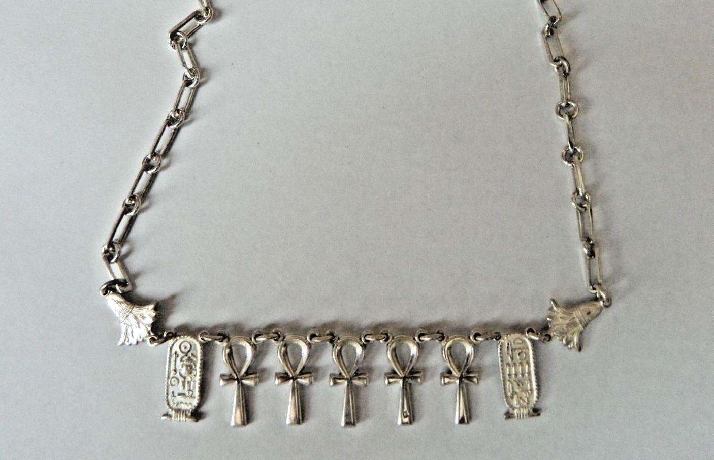 Egyptian argentoo Sterling Ankh Cartiglio Cartiglio Cartiglio Fiore di Loto Collana 47cm 2bddcb