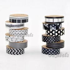 5PCS 1.5cm * 10M DIY Washi Rollos Cinta Tape libro tiqueta Adhesiva decoración