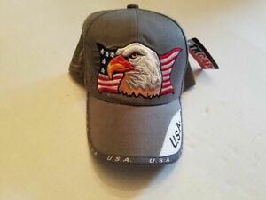 TK-Hat-Ball-Cap-USA-American-Flag-Bald-Eagle-Patriotic-Adjustable-Adult