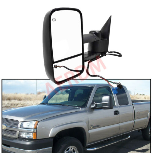 1pc Driver-Left Side Power Heated Glass Telescoping Extend Trailer Towing Mirror