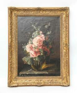 Original-Large-Masterful-Antique-Floral-Oil-Painting-S-Herrick-19th-C-1800-039-s