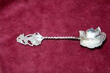 Vintage Thailand Siam 900 Silver Sugar Spoon  28g Flower Thai Dancer Figurine