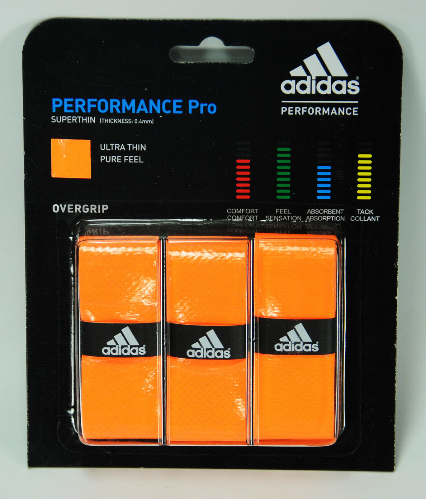 Lot of 10 adidas Badminton, Tennis, Squash, 0.4mm Ultra Thin Overgrips -5 colors