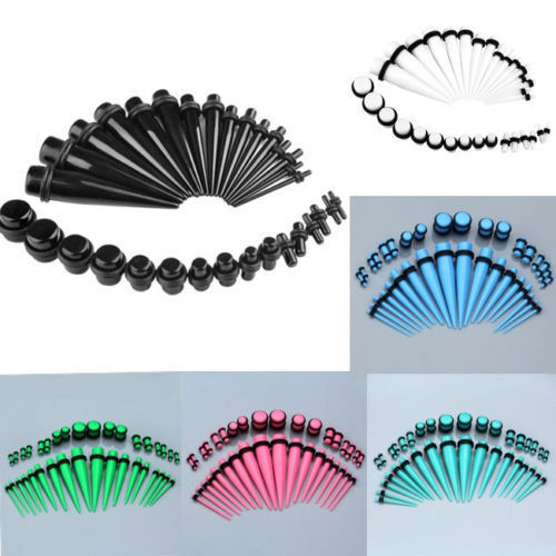 36pcs Gauges 14G-00G Acrylic Ear Tapers Stretcher Kit O-Rings Plugs Expander Set