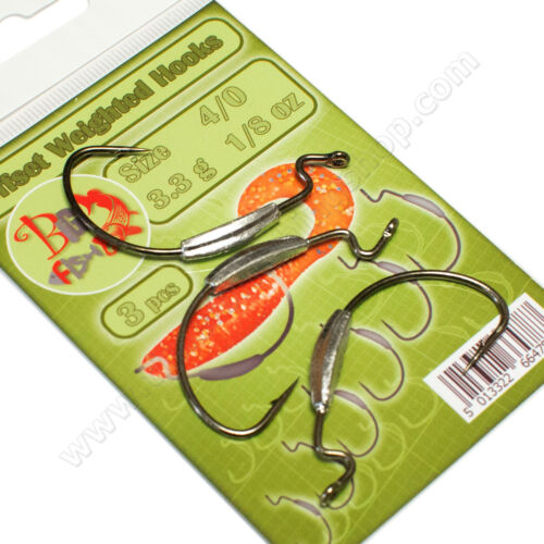 Offset Hooks Weighted Weedless Worm Soft Lures Bait Pike Perch Fishing Tackle