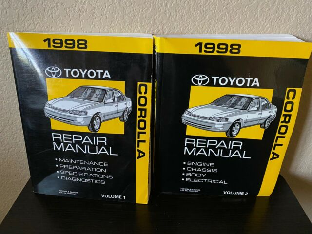 1998 Toyota Corolla Factory Service Manual 2 Volume Set Original Shop Repair
