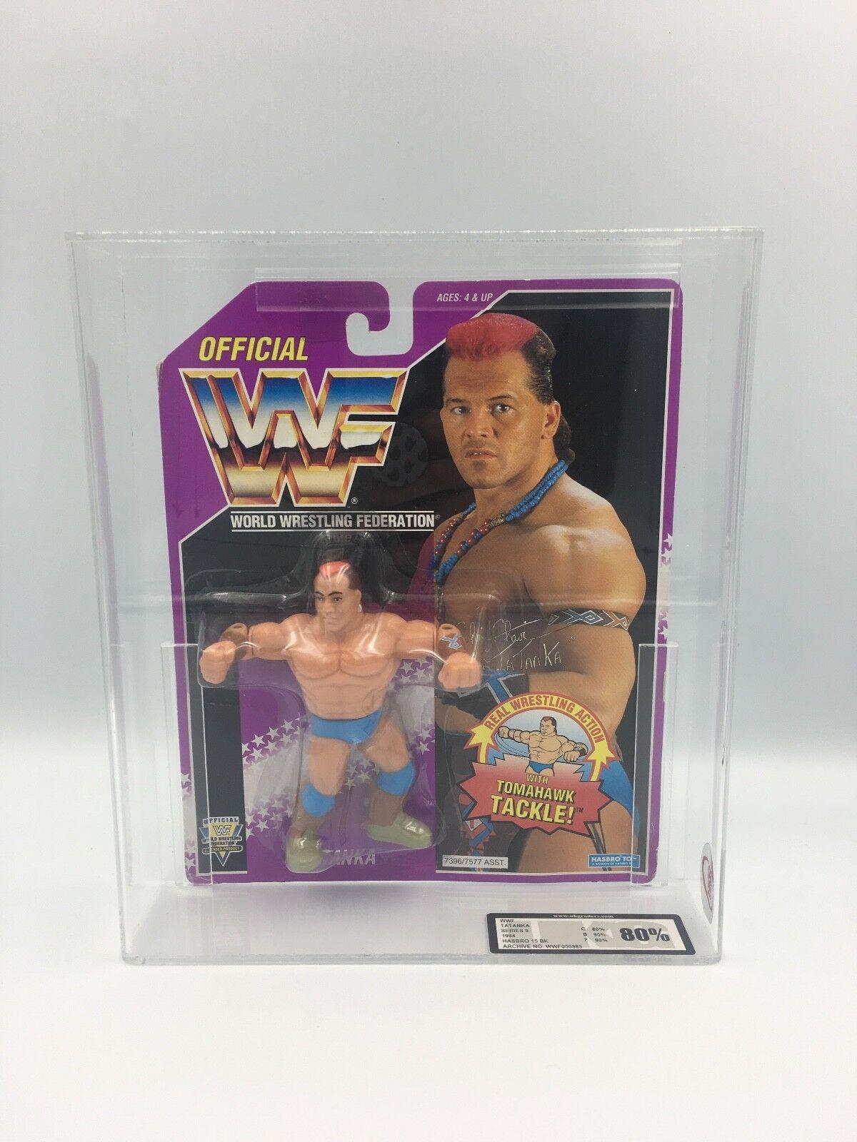 Vintage WWF Hasbro Tatanka Series 9, 1994 Carded UKG not AFA 80%