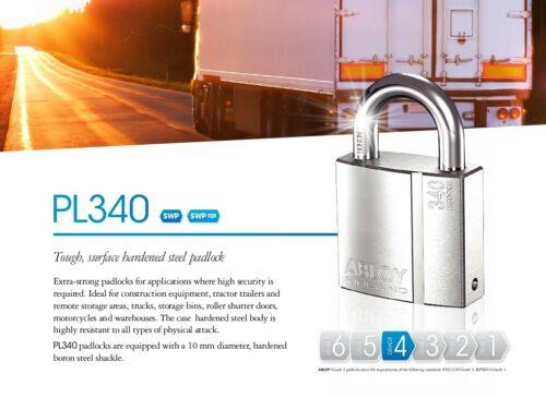 HIGH SECURITY PADLOCK or KEYED ALIKE SET OF PADLOCKS PL340//25N ABLOY® Protec