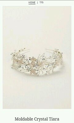 David/'s Bridal Thin Floral Pearl Headband H9101 $129 Silver