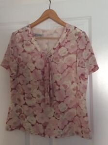 JACQUES-VERT-ROSE-PINK-FLORAL-CHIFFON-TOP-WEDDING-FORMAL-SIZE-12-WORN-ONCE