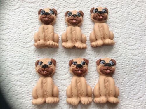 Edible sugar paste pug dogs cup cake toppers 61224