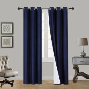 2 Window Curtains Design Blackout Lined Panels Silver Grommets Top COLE PURPLE