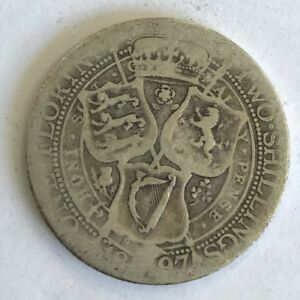 Antique-1897-Victoria-Victorian-Old-Head-Silver-Two-Shilling-Florin-Coin