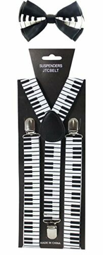 Adult BW Piano Keys Suspenders and Bow Tie Set Adjustable Wedding Prom