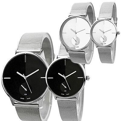Women's Men's Quartz Stainless Steel Mesh Band Wrist Watch Lover's Gift Bluelans