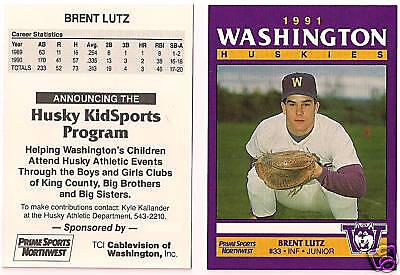 BRENT LUTZ 1991 UW HUSKIES BASEBALL CARD