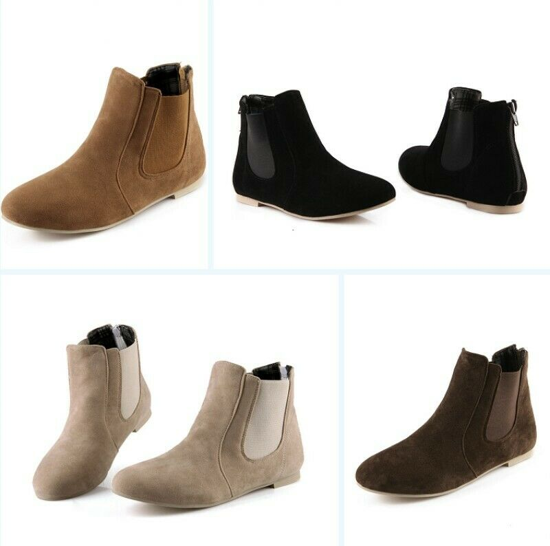 Women's Spring Ankle Boots Solid Slip On Rouond Toe Flats Suede Shoes New 2019