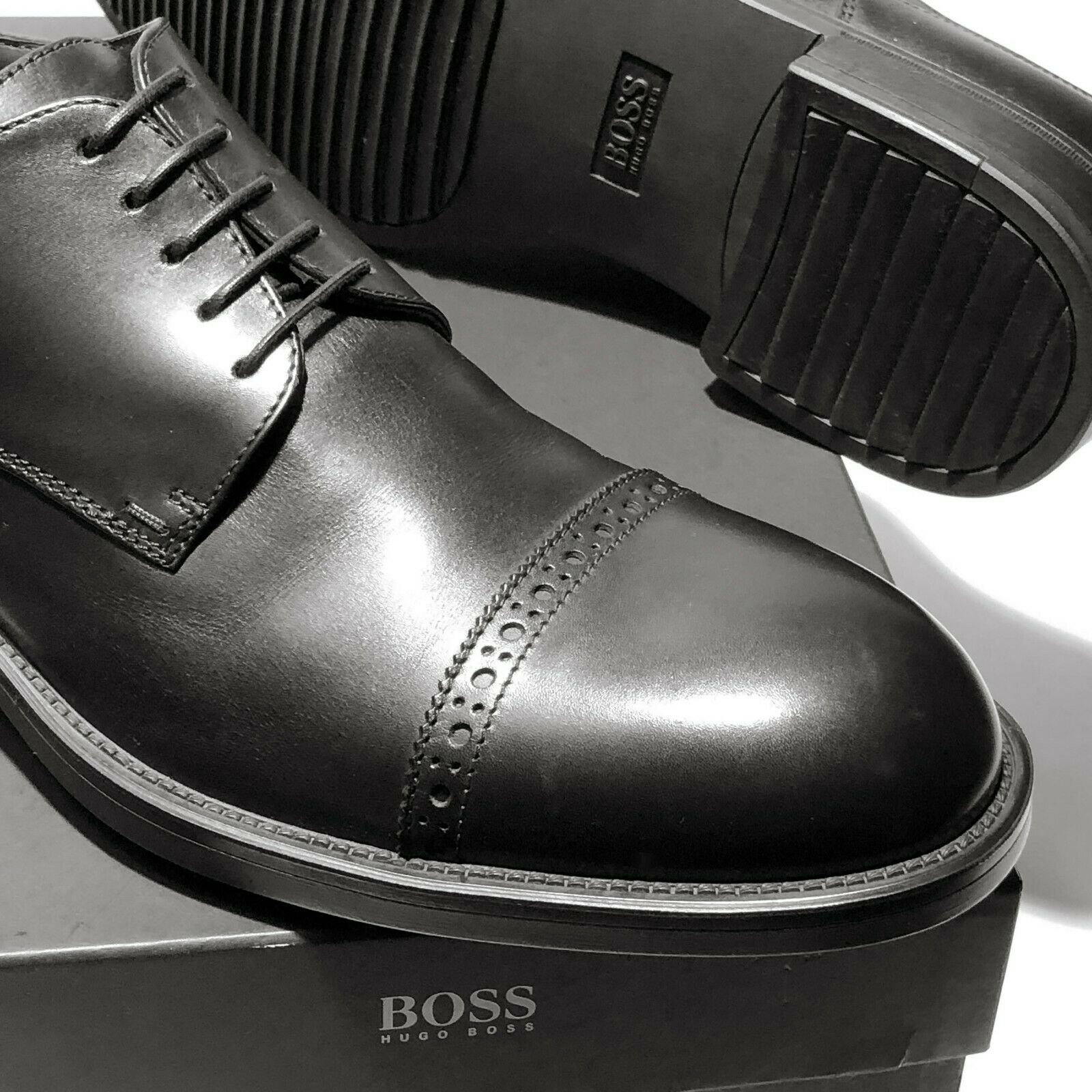 HUGO BOSS ITALY nero Leather Captoe 9.5 Men's Oxford Dress Formal Derby Casual