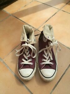 a55f21ec3ec7 ... clearance image is loading worn once converse all star hi top maroon  49297 a0d91