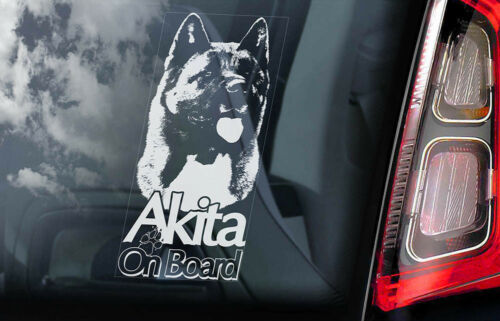 Car Window Sticker V05 Akita on Board American Inu Ken Sign Decal Gift Idea