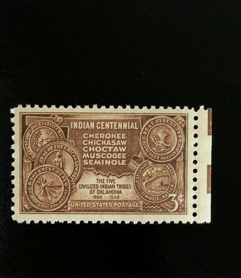 1948 3c Indian Centennial, Five Tribes of Oklahoma, 100