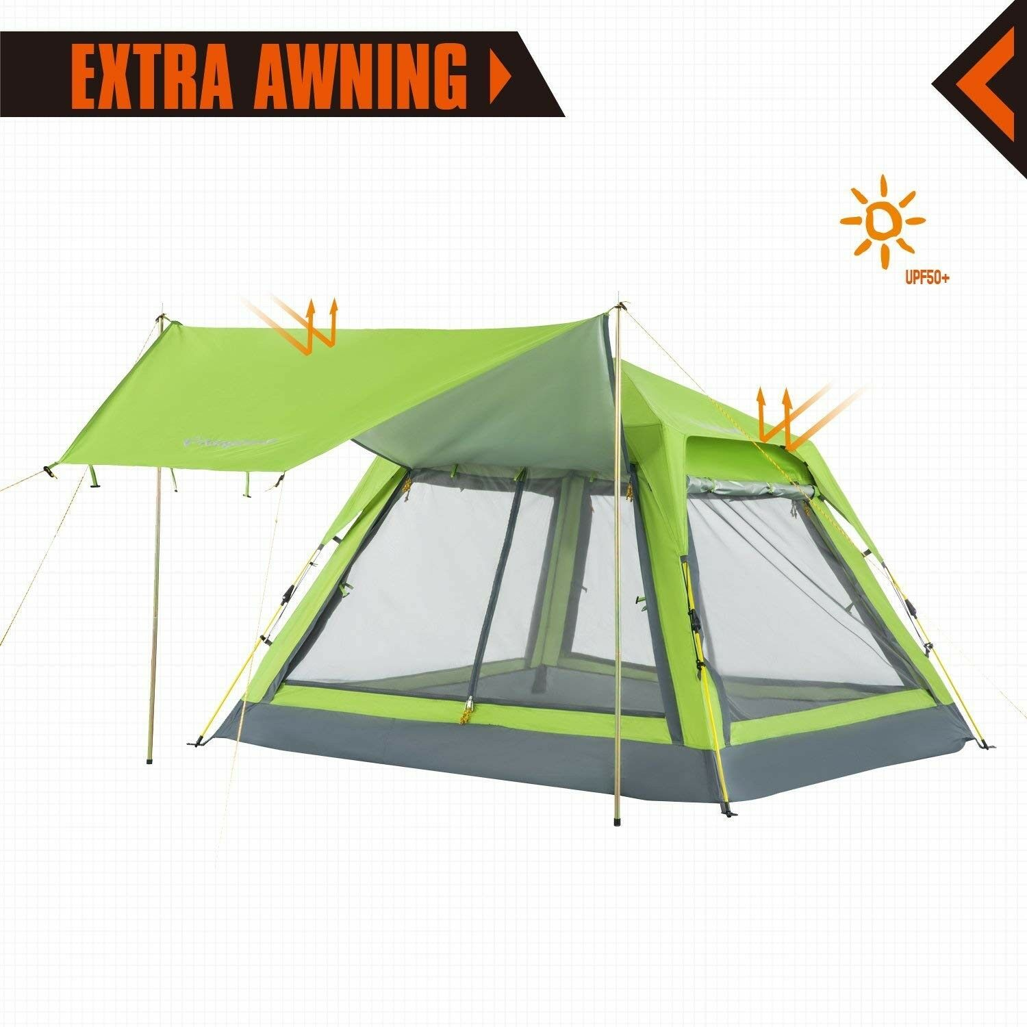 Trail 4 Person Instant Cabin Family Camping Tent For Canopy Mesh Side Wall Green