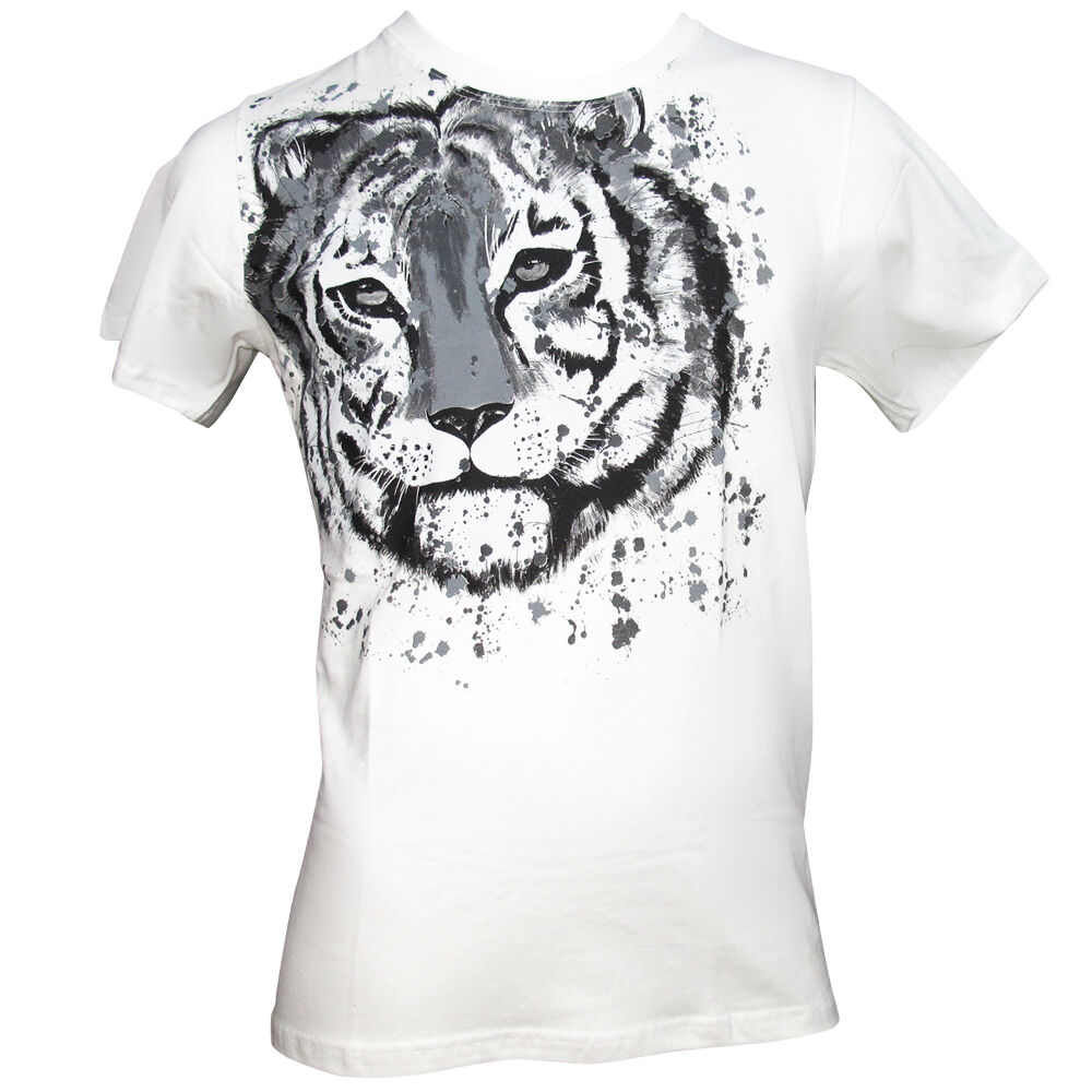 OFFICIAL Zoo Project Ibiza Men's T-shirt Tiger WHITE Wild Animal Print RRP