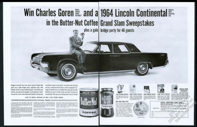 Details about 1964 Lincoln Continental car bridge Charles Goren photo  Butter-Nut coffee ad