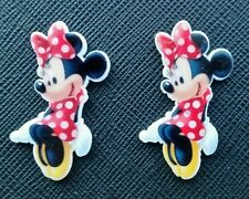 2 x Minnie Mouse Sitting Red Spotty Dress Planar Flatback Resin Flat Back Resins