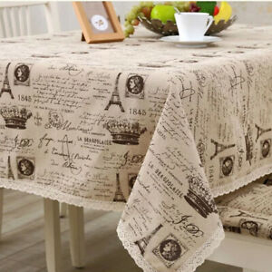 Plain Cotton Linen Tablecloth Rectangular Lace Table Cloth Cover Dining Kitchen